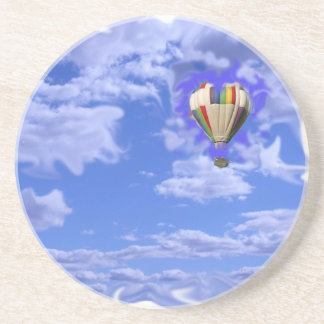 hot air balloon in clouds coaster