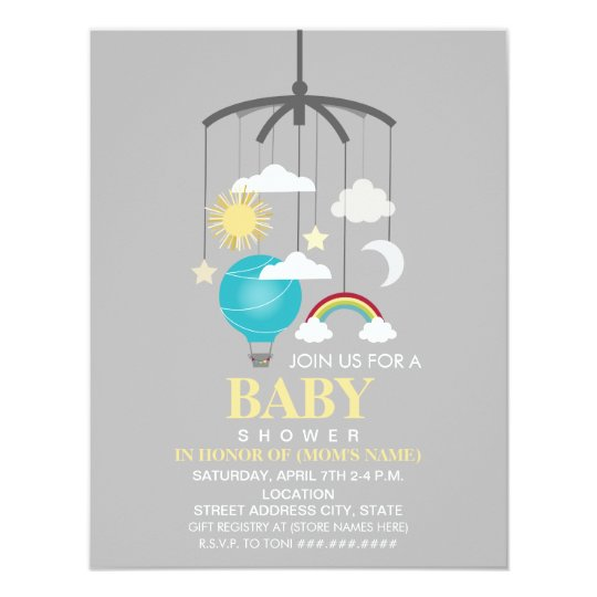 Hot Air Balloon Mobile Boy Modern Baby Shower