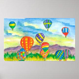 Hot Air Balloon Mountain Landscape Poster