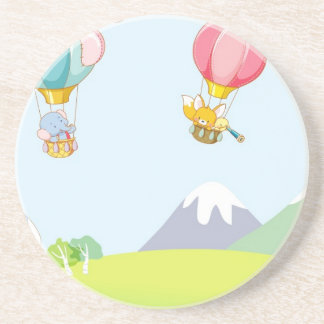 Hot air balloon on pastel blue background. beverage coaster