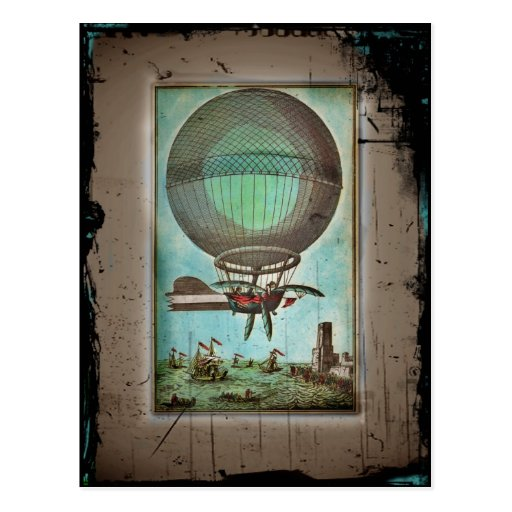 Hot Air Balloon Over the Harbor Post Card