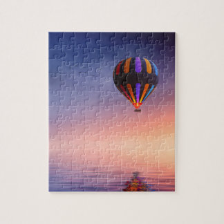 Hot Air Balloon over the Ocean at Sunset Jigsaw Puzzle