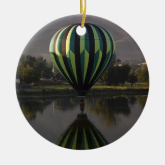 Hot air balloon over the Yakima River 2 Round Ceramic Decoration