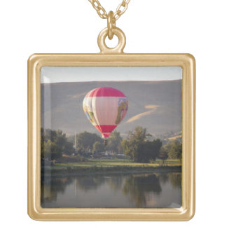 Hot air balloon over the Yakima River Square Pendant Necklace