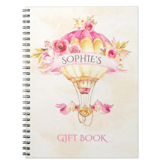 Hot Air Balloon Pink Gold Yellow Roses Gift Spiral Note Book