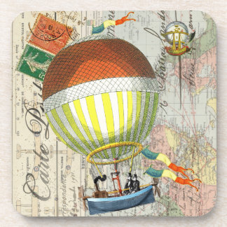 Hot Air Balloon Post Card Drink Coasters