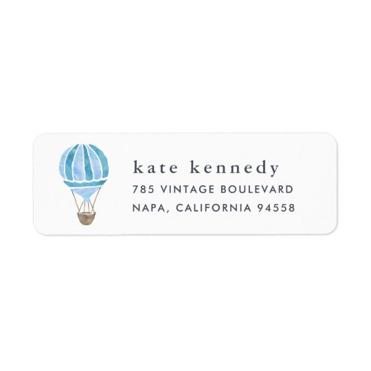 Hot Air Balloon Return Address Label | Blue