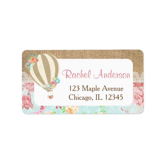 Hot air balloon return address labels, burlap lace label