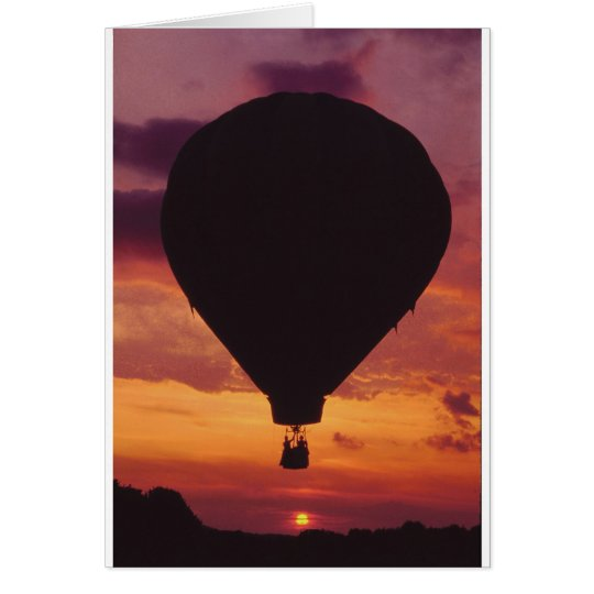 Hot Air Balloon silhouetted against a Sunset Card