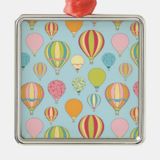 Hot Air Balloon Silver-Colored Square Decoration