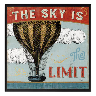 Hot Air Balloon Sky Is The Limit Quote Acrylic Wall Art