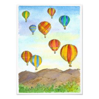 Hot Air Balloon Sunrise Mountains Watercolor Photo