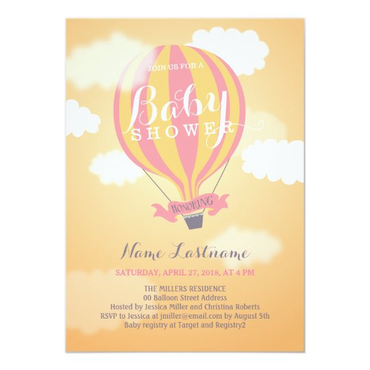 Hot Air Balloon Sunset Girl Baby Shower Invite