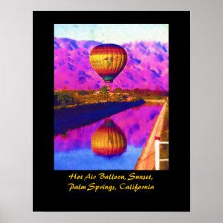 Hot Air Balloon, Sunset, Palm Springs, California Poster