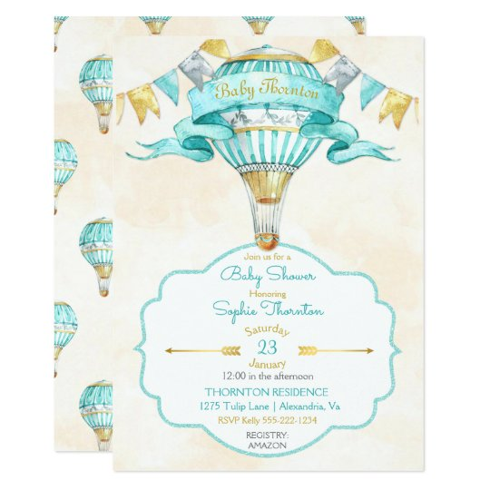 Hot Air Balloon Turquoise Gold Gender Neutral Card