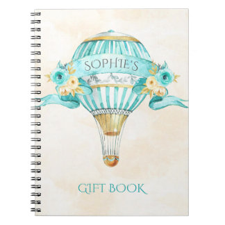 Hot Air Balloon Turquoise Gold Yellow Roses Gift Spiral Notebooks