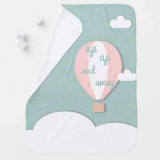 Hot Air Balloon, Up Up and Away Pink Baby Blanket