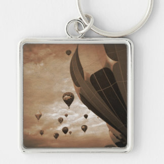 Hot Air Balloon Vintage Photograph Silver-Colored Square Key Ring