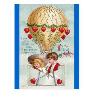 Hot Air Balloon Vintage Valentine Postcards