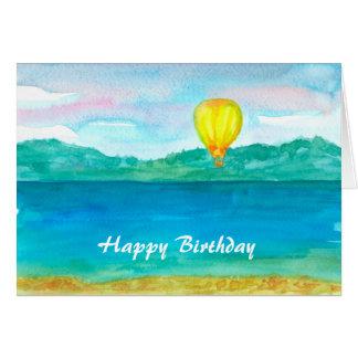 Hot Air Balloon Watercolor Happy Birthday Card