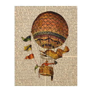 Hot Air Balloon with Flags Wood Wall Art