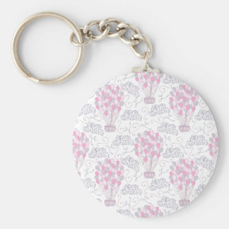Hot air balloon with party balloons in pink basic round button key ring