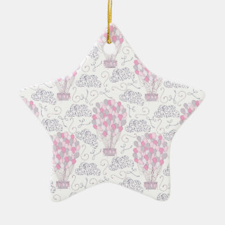 Hot air balloon with party balloons in pink christmas ornament
