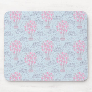 Hot air balloon with party balloons in pink mouse mat