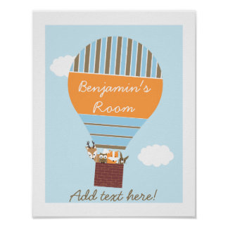 Hot Air Balloon Woodland Animals Nursery Poster