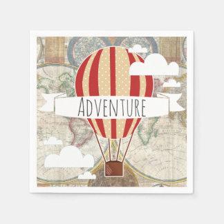 Hot Air Balloon & World Map Vintage Adventure Disposable Serviettes