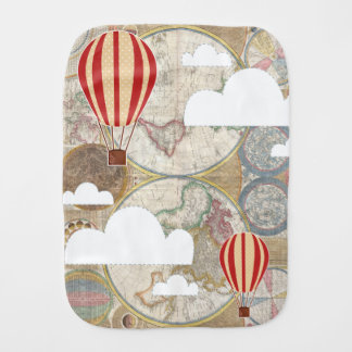 Hot Air Balloon & World Map Vintage Traveler Burp Cloth