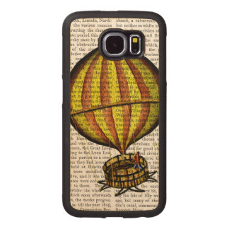 Hot Air Balloon Yellow and Red Wood Phone Case