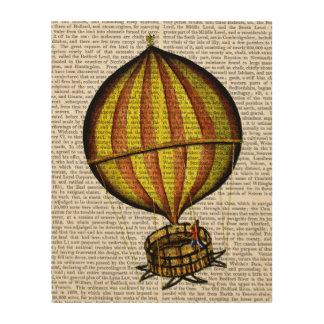 Hot Air Balloon Yellow and Red Wood Print