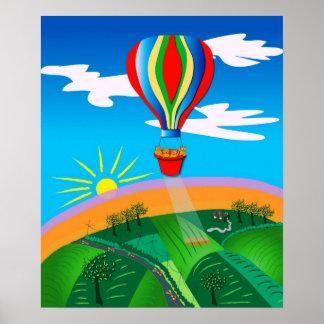 Hot Air Ballooning Folk Art Poster