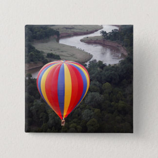 Hot-Air Ballooning over the Mara River 15 Cm Square Badge