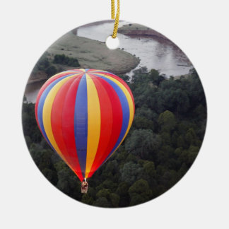 Hot-Air Ballooning over the Mara River Round Ceramic Decoration