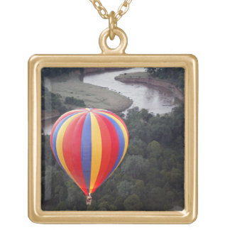 Hot-Air Ballooning over the Mara River Square Pendant Necklace