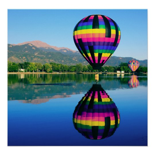Hot Air Ballooning, Pikes Peak Mountain Poster