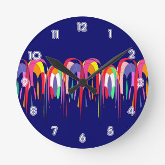 Hot Air Balloons Abstract Round Clock