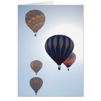 Hot Air Balloons Against the Sun Card