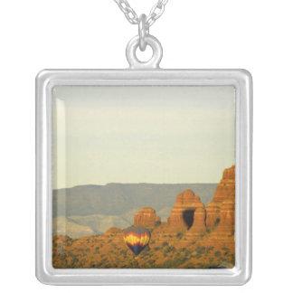 Hot Air Balloons at Sedona, Arizona, USA. Silver Plated Necklace