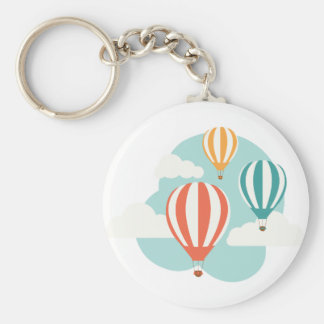 Hot Air Balloons Basic Round Button Key Ring