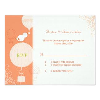 Hot Air Balloons + Bird Wedding RSVP Card