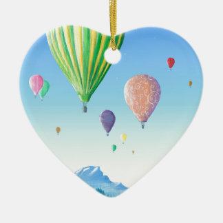 Hot Air Balloons Ceramic Heart Decoration