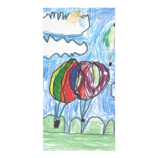 Hot Air Balloons Childs Artwork marker and crayon Picture Card