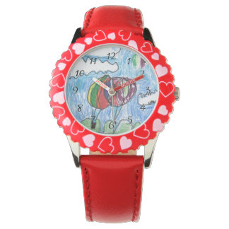 Hot Air Balloons Childs Artwork marker and crayon Watch