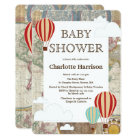 Hot Air Balloons & Clouds World Travel Baby Shower Card