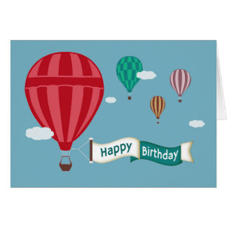 Hot Air Balloons Displaying Banner Birthday Card