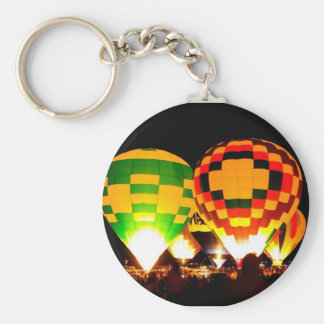 Hot Air Balloons Glowing at Night Basic Round Button Key Ring