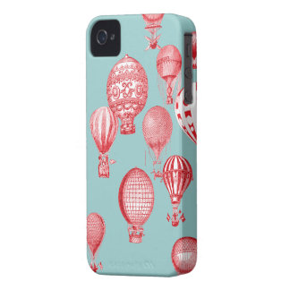 Hot Air Balloons in Flight, Red on Robins Egg Blue iPhone 4 Cases